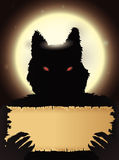 Dark Werewolf with Grim Stare Holding a Old Paper on Full Moon Night Stock Images