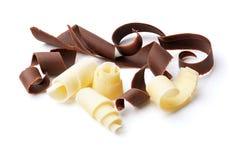 Dark and white chocolate curls Stock Photos