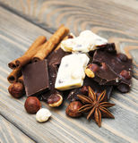 Dark and white chocolate with nuts Royalty Free Stock Photography