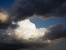 Dark and white clouds and blue sky Royalty Free Stock Photos