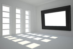 Dark white room with frame at wall. And windows Stock Images