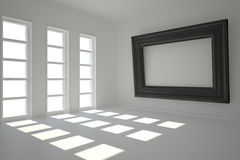 Dark white room with frame at wall. And windows Royalty Free Stock Image