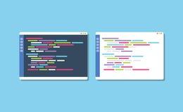 Dark or white theme programming text editor compare vector illustration