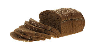 Dark Whole Grain Wheat Bread Loaf and Slices Stock Photo