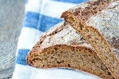 Dark wholegrain rye bread closeup Stock Photo