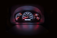 Dark - wide angle - auto console Stock Photography