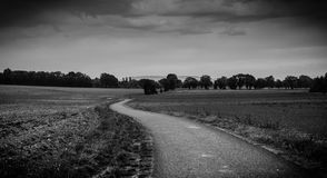Dark and windy path in the autumn Stock Photography