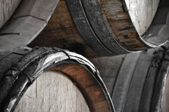 Dark Wine Barrels to store vintage wine Royalty Free Stock Images