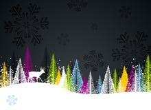 Dark winter forest background stock illustration