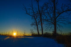 Dark Winter Sunset Stock Photo