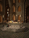 Dark wizard room. Dark interior with table and skulls Royalty Free Stock Images