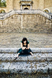 Dark woman in monastery Royalty Free Stock Image