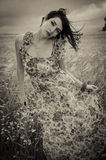 Dark woman on wheat field. Portrait dark woman on wheat field stock photography