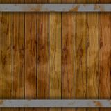 Dark wood barrel deck board seamless background with nine planks and two rusty metal hoops Stock Images