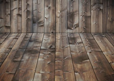 Dark wood floor corner Royalty Free Stock Image