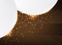 Wood and glowing sparks theme business background Royalty Free Stock Photo