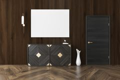 Dark wood living room, chest of drawers, poster. Dark wood living room interior with a wooden floor, a chest of drawers, a narrow vase near a door and a poster Stock Images
