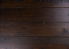 Dark wood panel background. Finished and stained blank dark wood panel background with fine grain and copy space Royalty Free Stock Image