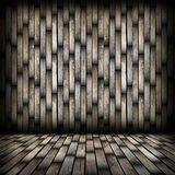 Dark wood planks finishing on interior backdrop Royalty Free Stock Photos
