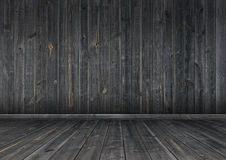 Dark wood wall and floor, background texture Royalty Free Stock Images