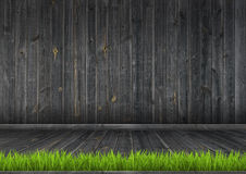 Dark wood wall and floor with grass, background Stock Images