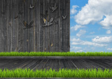 Dark wood wall and floor with grass Royalty Free Stock Images