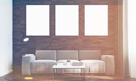 Dark wood walls living room, front, toned. Front view of a living room with dark wooden walls, a long sofa and three framed vertical posters hanging above it. 3d Stock Photo