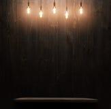 Dark wooden background texture. Wood shelf. Grunge industrial interior stock image