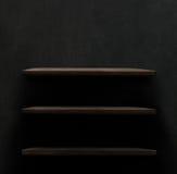 Dark wooden background texture. Wood shelf. Grunge industrial interior royalty free stock image