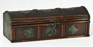 Dark wooden chest Stock Images