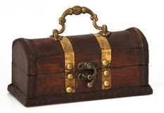 Dark wooden chest Stock Photos
