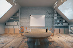 Dark wooden conference room Stock Photo