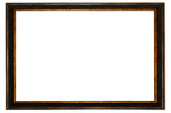 Dark wooden frame picture isolated Stock Image