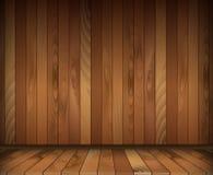 Dark wooden interior room. floor and wall. Vector illustration Royalty Free Stock Photos
