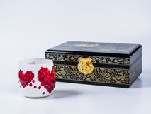 Dark wooden jewel box with decoupage glass on white background. Royalty Free Stock Image