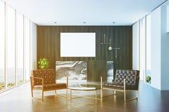Dark wooden office, reception, waiting area toned Stock Photo