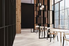 Dark wooden panoramic cafe. In a skyscraper with a wooden floor, round tables and chairs near them. 3d rendering mock up Royalty Free Stock Photos