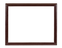Dark wooden picture frame on white backround Stock Image