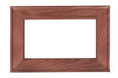 Dark wooden picture frame on white backround Royalty Free Stock Image