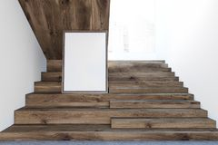 Dark wooden stairs in white wall hall, poster. Wooden stairs in a white wall hall of a luxury house or office interior with a concrete floor and a cityscape. A Stock Photo