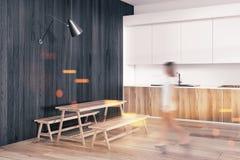 Dark wood rustic dining room corner toned stock illustration