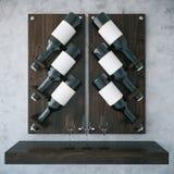 Dark wooden wine rack. On concrete background. 3D Rendering Royalty Free Stock Photos