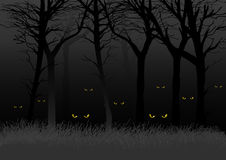 Dark Woods. Scary eyes staring and lurking from dark woods, suitable for Halloween theme stock illustration