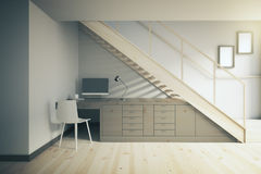 Dark working area under stairs Royalty Free Stock Image