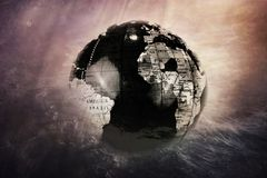 Dark earth globe disappears in the universe. Dark world globe. Dark earth globe disappears in the universe Stock Photo