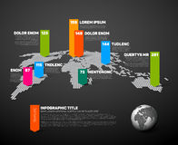Dark World map infographic template. With globe, color pointer marks and data numbers visualization Stock Photo