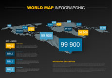Dark World map infographic template Stock Photos