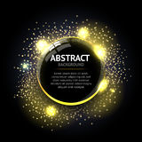Dark yellow Abstract ring background. Metal chrome shine round frame with light circles and spark light effect. vector illustration