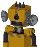 Dark-Yellow Automaton With Mechanical Head And Keyboard Mouth And Black Cyclops Eye And Three Dark Spikes. Portrait style Dark-Yellow Automaton With Mechanical royalty free illustration