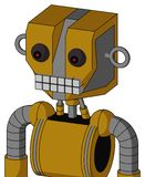 Dark-Yellow Automaton With Mechanical Head And Keyboard Mouth And Red Eyed. Portrait style Dark-Yellow Automaton With Mechanical Head And Keyboard Mouth And Red vector illustration